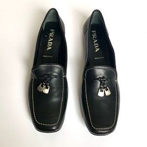 PRADA Black Leather Loafers w/ Tassles